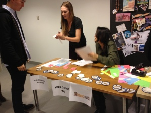 Signing in at the Hootsuite Hiring Fair